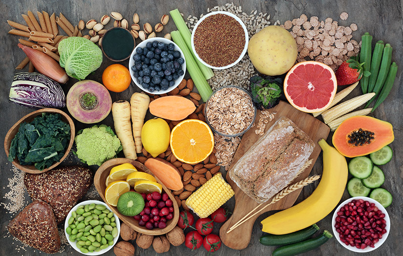 a collection of foods high in fiber