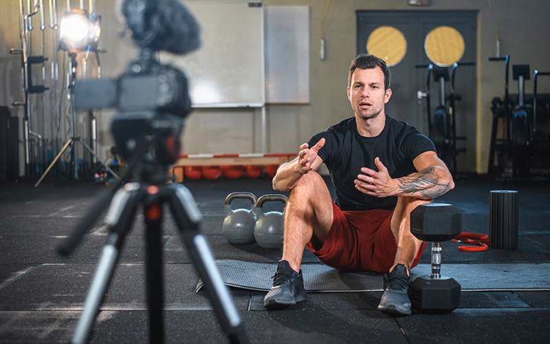 personal trainer in front of camera